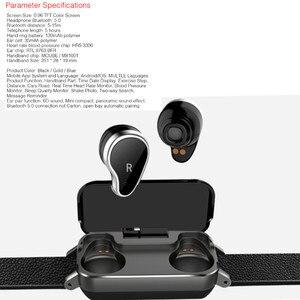 Image 2 - Pulseira smart t89, com fone de ouvido duplo, para esportes, fitness, bluetooth, monitor cardíaco, pressão sanguínea, a prova d água