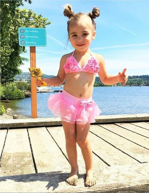 b7079668fa Enfants bikini floral bébé fille petites filles nager enfants maillots de bain  filles deux pièces enfant