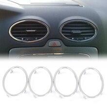 קישוט לשקע מיזוג אוויר ABS כרום לקצץ לפורד פוקוס 2 2006 2007 2008 2009 2010 2011 אביזרי רכב