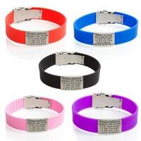 New Sport ID Bracelet Custom Engraved Identification Bracelets Bangles SOS Bracelet For Kids Adjusting Safety Children