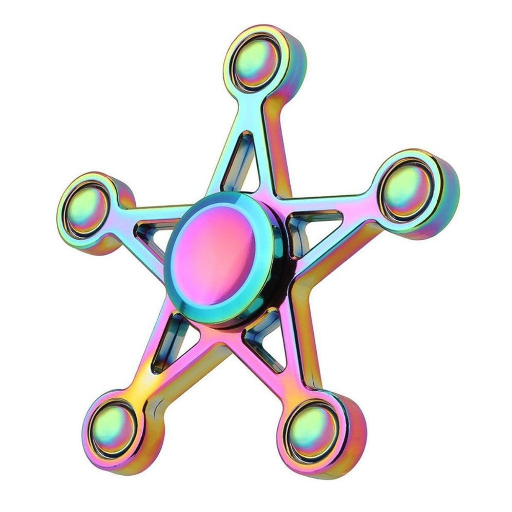 2017 New Five-pointed Star Figet Spiner Metal Zinc Alloy Rainbow Fidget Spiner Metal Rainbow Spinner Hand Fidget Toys Antistress