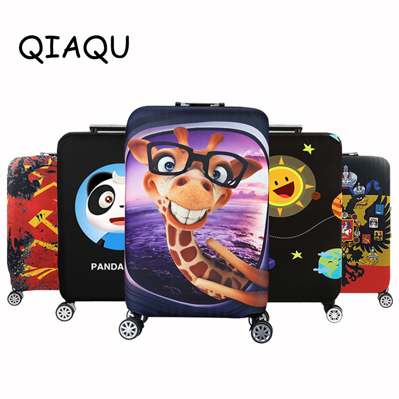 QIAQU Brand Travel Thicken Elastic Color  World Map Luggage Suitcase Protective Cover Apply To 18-32inch Case Travel Accessories