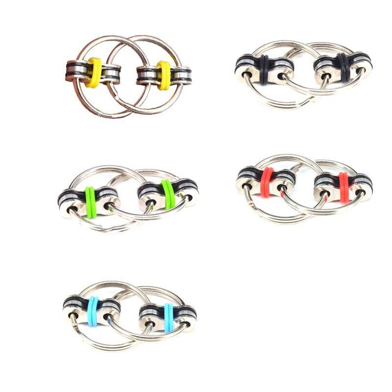 Fidget-Toy Key-Ring Top-Puzzles Hand-Spinner Sensory Toys Autism ADHD Metal Chain Stress-Relieve img4