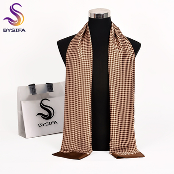 [BYSIFA] Men Silk Scarf Neck Scarf Fall Winter Male Long Scarves Fashion Houndstooth Business Scarf Cravat 170*30cm