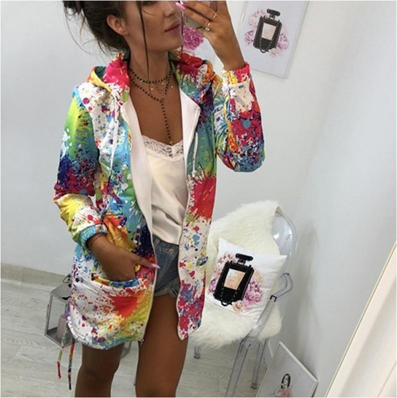 가을 여성 숙녀 지퍼 탑스 까마귀 후드 다채로운 낙서 코트 자켓 캐주얼 슬림 얇은 점퍼