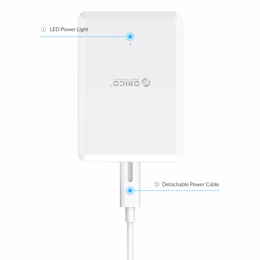 ORICO Universal USB Charger 6 Port Smart Charger 5V2.4A Max Output 50W Mobile Phone Desktop Charger for iPhone Samsung Xiaomi