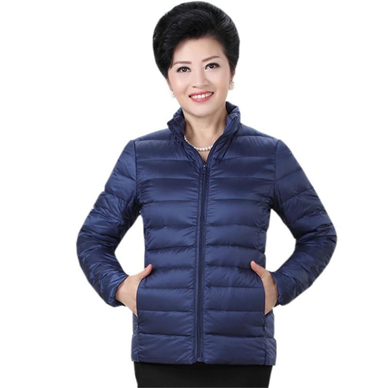 2018 Autumn winter women   down   jacket Women stand collar Thin light White duck   down     coat   fashion Casual loose Outwear RE0785