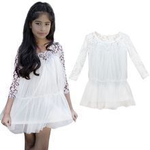 Kids Princess Girl Lace Fancy Dress Long Sleeve Tops Casual Dress Best