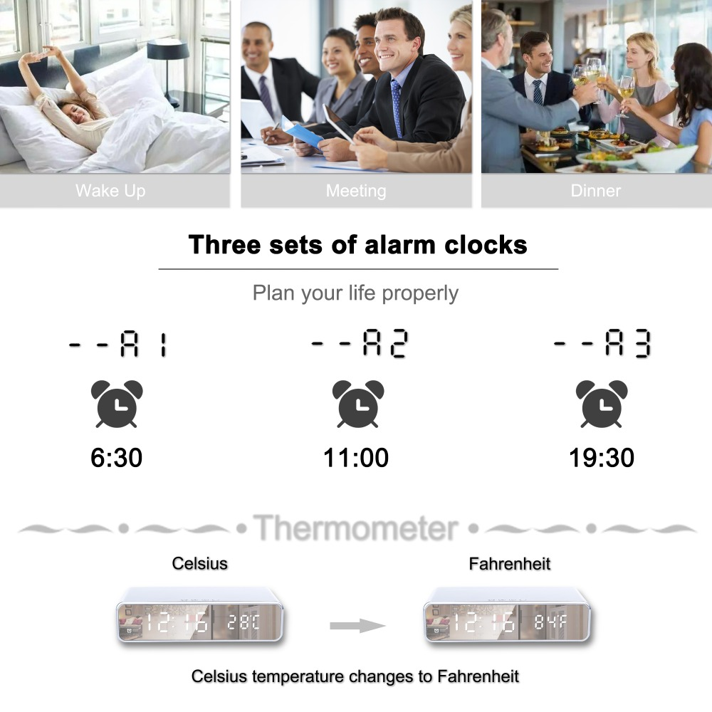 HTB1ljrsN7voK1RjSZFDq6xY3pXaQ Electric LED alarm clock with phone wireless charger Desktop digital thermometer clock HD mirror clock with Time memory