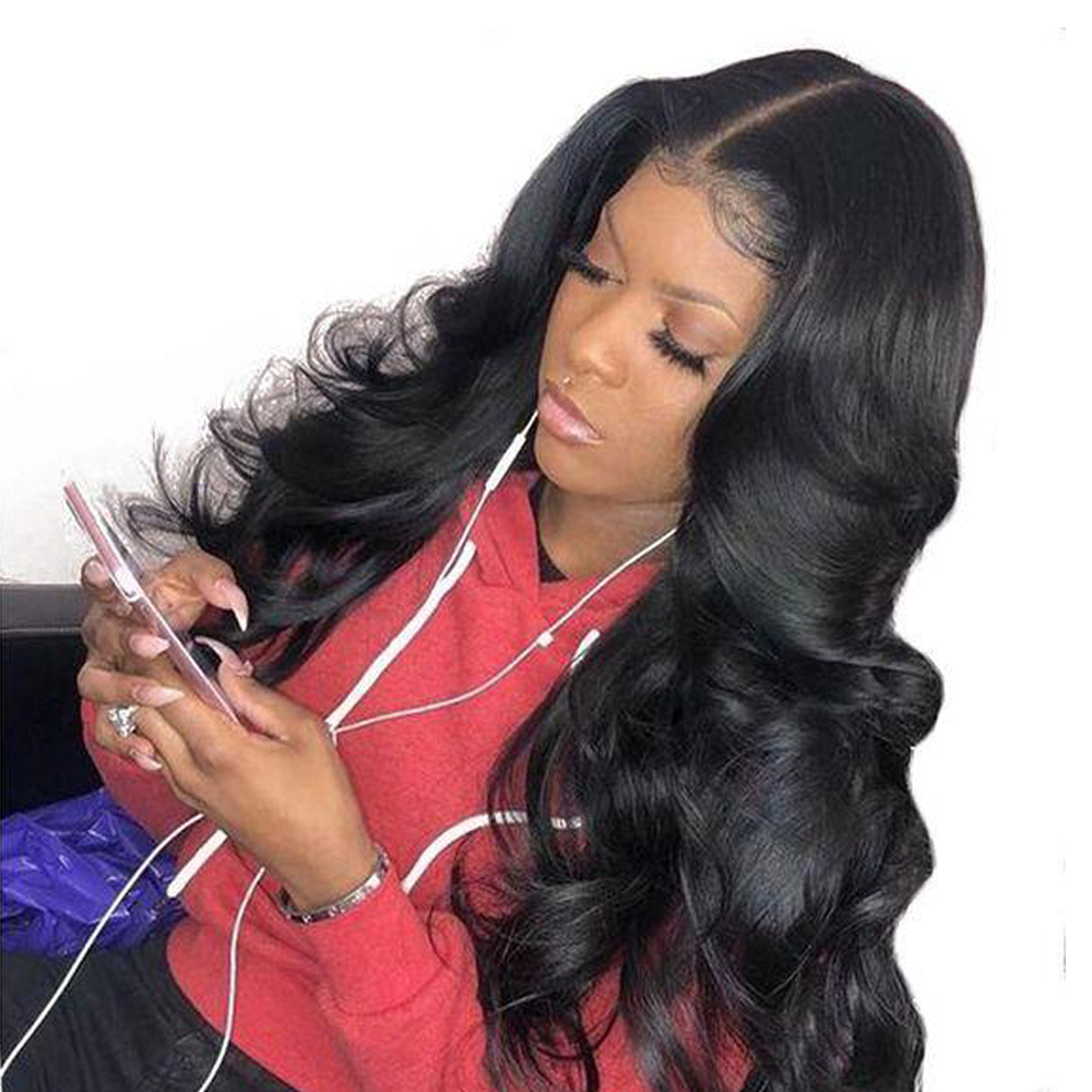 BEAUDIVA 4*4 Lace Closure Human Hair Wigs Middle Part Lace Wigs Non Remy Indian Hair Body Wave Wig Lace Wig with Baby Hair