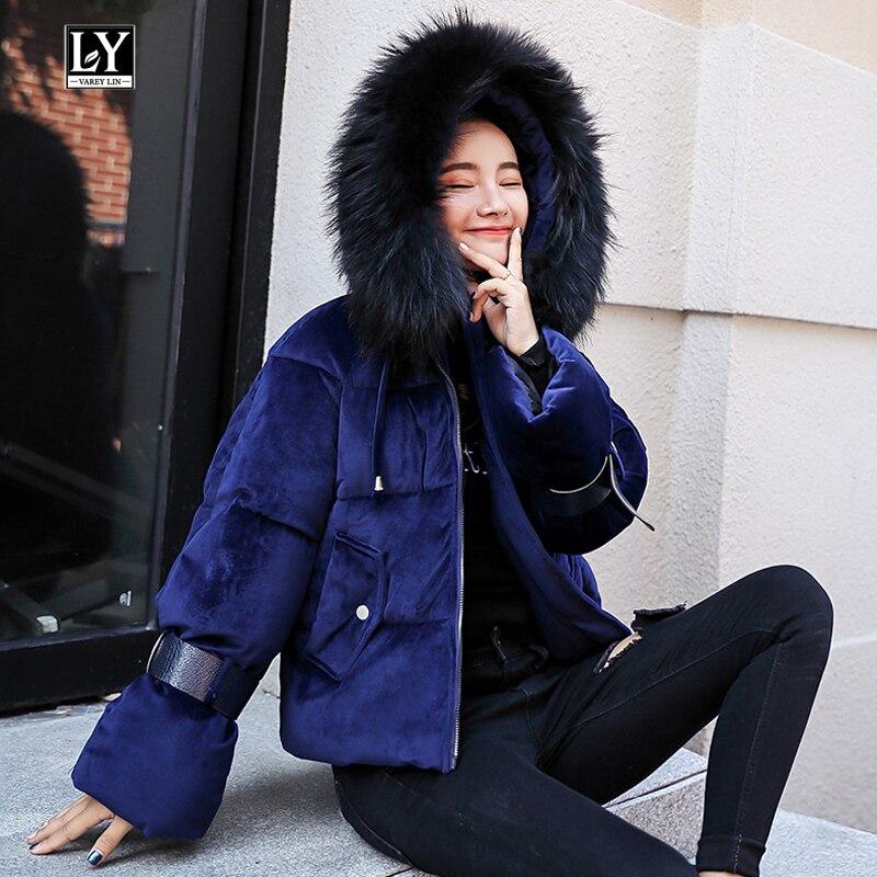 Ly Varey Lin Mulheres Casacos de Algodão Inverno Jaqueta Acolchoada Quente Engrossado Veludo Curto Parka Feminino Com Capuz De Pele Gola Outerwear Casuais