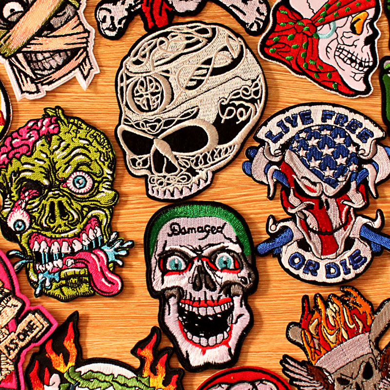 DIY Hook Loop Patch Embroidered Patches For Clothing Biker Embroidery Punk Skull Patch Iron On Patches On Clothes Stripes Badges