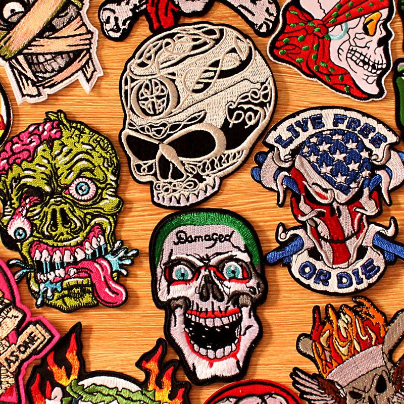 Patchs brodés pour vêtements de motard   Bricolage, boucle de crochet, Patch Punk crâne brodé sur les vêtements, Badges à rayures