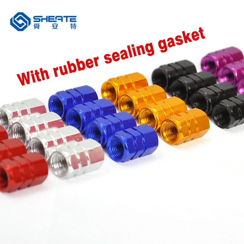 SHEATE 4PCS 10 colors Car Tire Wheel Valve Cap Gas leak proof rubber sealing gasket Tyre caps for Moto Bike Vehicle wheels