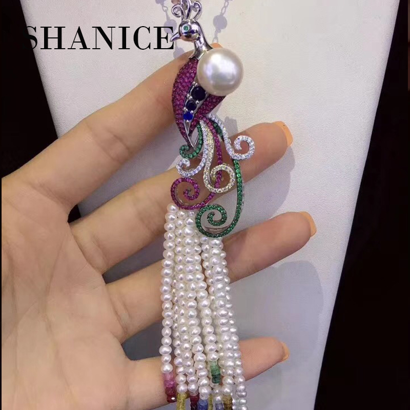 SHANICE Exquisite Colorful Crystal Peacock Brooch Pin Clear AAA CZ Luxury Jewelry Accessory Pearl Component Connector цена 2017