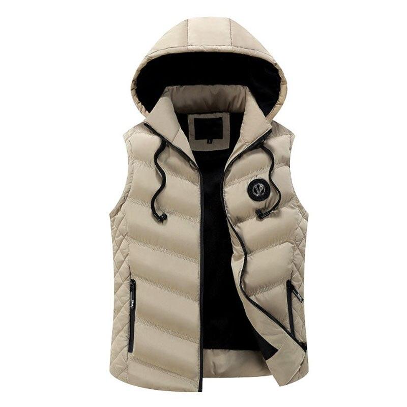 Men's Warm Sleeveless Vest New Stylish Winter Down Cotton Hooded Jacket Male Zipper Waistcoat Gilet Homme Casual Coats Clothing