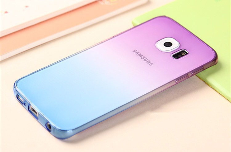 new product 42a95 2c09b US $1.79 |Gradient color Phone case for Galaxy S6 case jelly Back cover TPU  soft Case for samsung Multicolor optional For S6 Edge case on ...