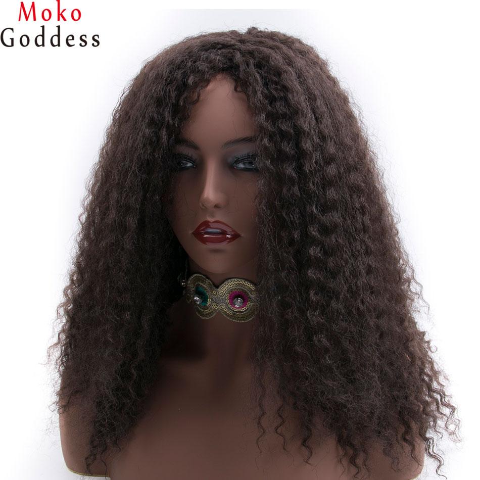 MoKoGoddess афро Kinky фігурні перуки для чорношкірих жінок довгий синтетичний перуку афро-американських плетені перуки  t