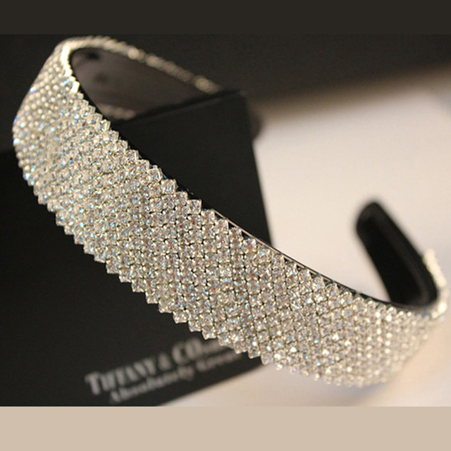 25mm width fashion silver color hairband rhinestone headband korean crystal hair accessories for women girls bride