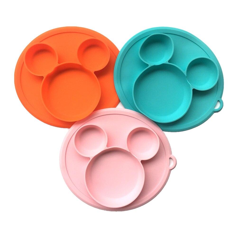 Mickey placa para niños con tapa de silicona bebé de succión libre de BPA, alimentación del bebé niños comedor platos