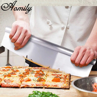 Aomily Stainless Steel Pizza Cutter Home Canteen Kitchen Party Pastry Rocker Blade Rocking Pizza Cutter Kitchen