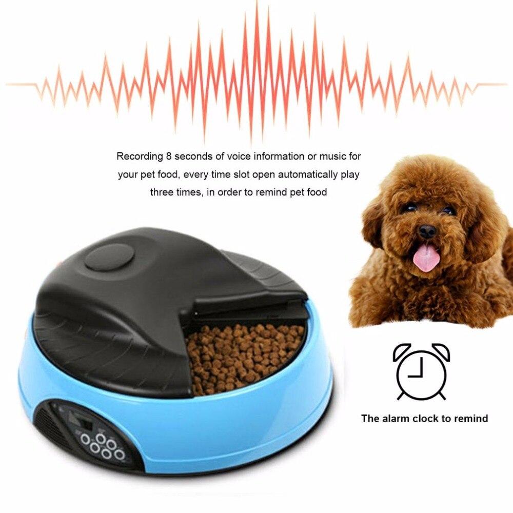 Pet 4 Pasti Alimentatore Automatico Vassoi di Cibo Ciotola Distributore di Impostazione Tempo Fisso Non-tossico Contenitore di Registrazione Promemoria rifornimenti del cane
