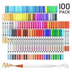 Art 100 kolory podwójna końcówka Brush długopisy Art markery końcówka pędzla z Fineliner 0.4 markery długopis zestaw do kolorowanki dla dorosłych