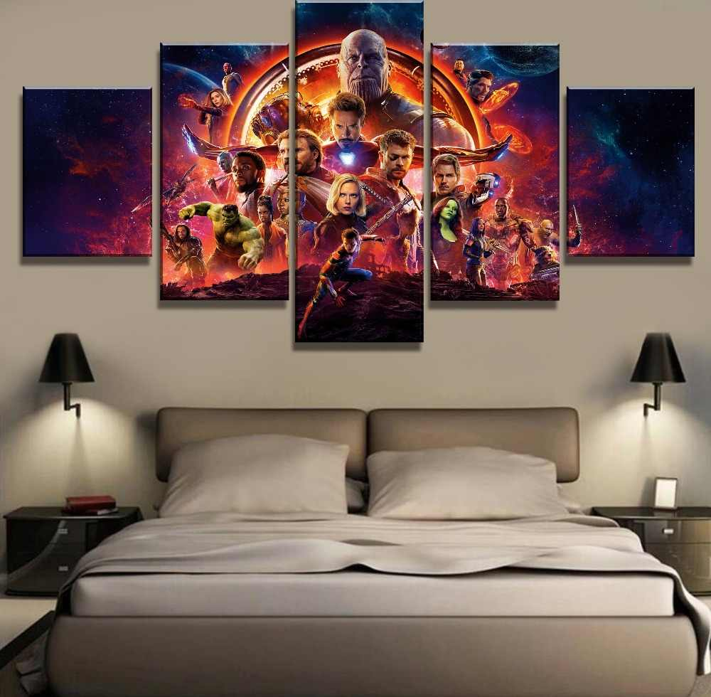 Frame 5 Panel Avengers Infinity War Movie Poster Modern Decorative Paintings on Canvas Wall Art for Home Decorations Wall Decor