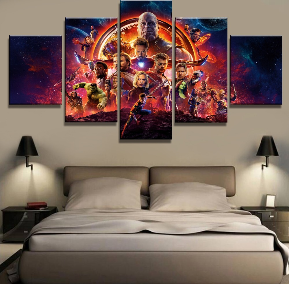 Frame 5 Panel Avengers Infinity War Movie Poster Modern Decorative Paintings on Canvas Wall Art for Home Decorations Wall Decor image