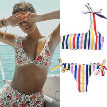 2019 Women Floral Push-up Padded Bikini Set Striped Swimwear Swimsuit Bathing Suit Beach