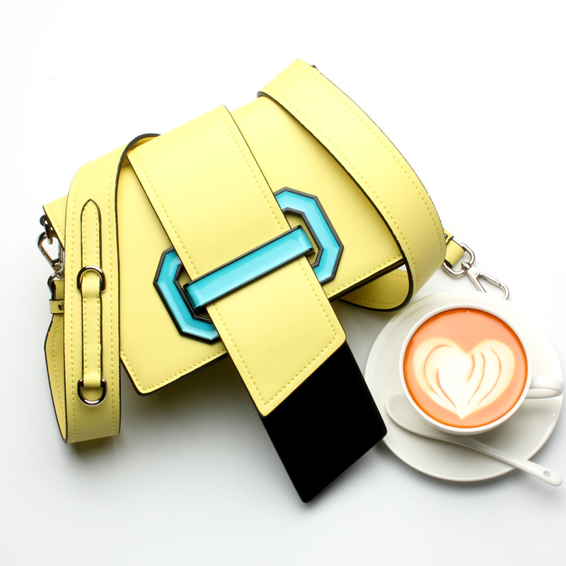 2018  Hit Color Women Small Square Leather Mini Bag Tongue Flap Shoulder Bag Messenger Genuine Leather Bag 2pcs lot mini tongue