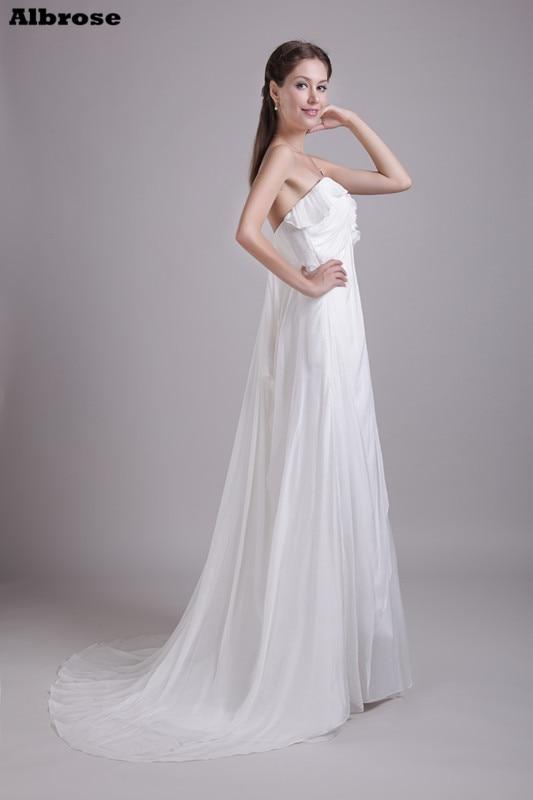 Ivory Chiffon Sexy Beach Wedding Dress 2017 Cheap Simple Wedding Dresses Long Empire Waist Pregnant Women Formal Party Gowns
