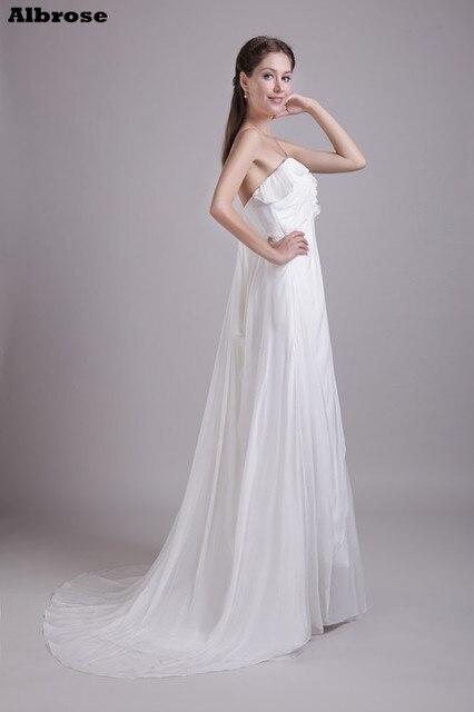 Ivory Chiffon Sexy Beach Wedding Dress 2017 Cheap Simple Dresses Long Empire Waist Pregnant Women