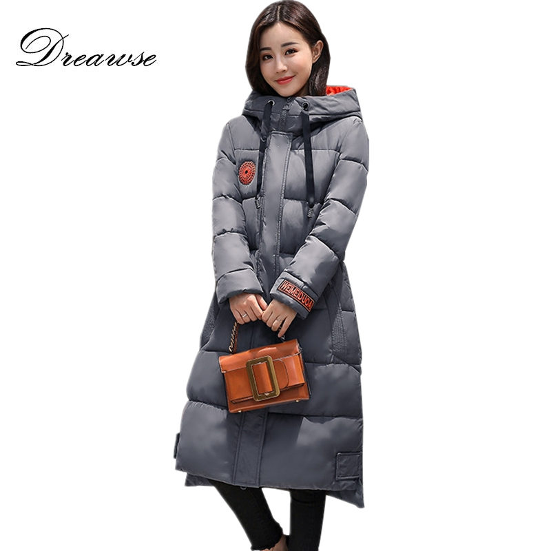 купить Dreawse Plus Size L-5XL 200 Pounds Padded Cotton Parkas Women Long Knee Length Warm Thick Jacket Winterjassen Dames MZ1975 недорого