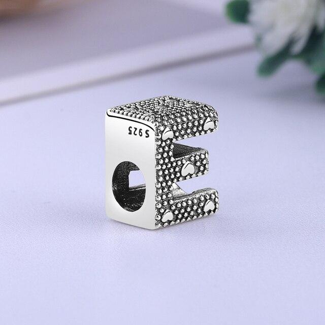 Original 100% 925 Sterling Silver Bead Charm A-Z 26 Letters Charms Alphabet Crown O Fit Pandora Bracelets Women Diy Jewelry 5
