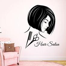 Hair Salon Wall Decals Fashion Hairdressing Beauty Decor Scissors Comb Vinyl Decal Sticker Art Mural F794