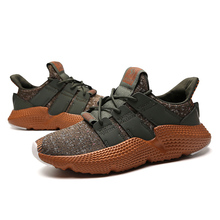 Купить с кэшбэком Men's Lace Up Low Top Sneakers Breathable Flyknit Running Sports Shoes Casual Leisure Walking Shoes Air Cushion Shoes