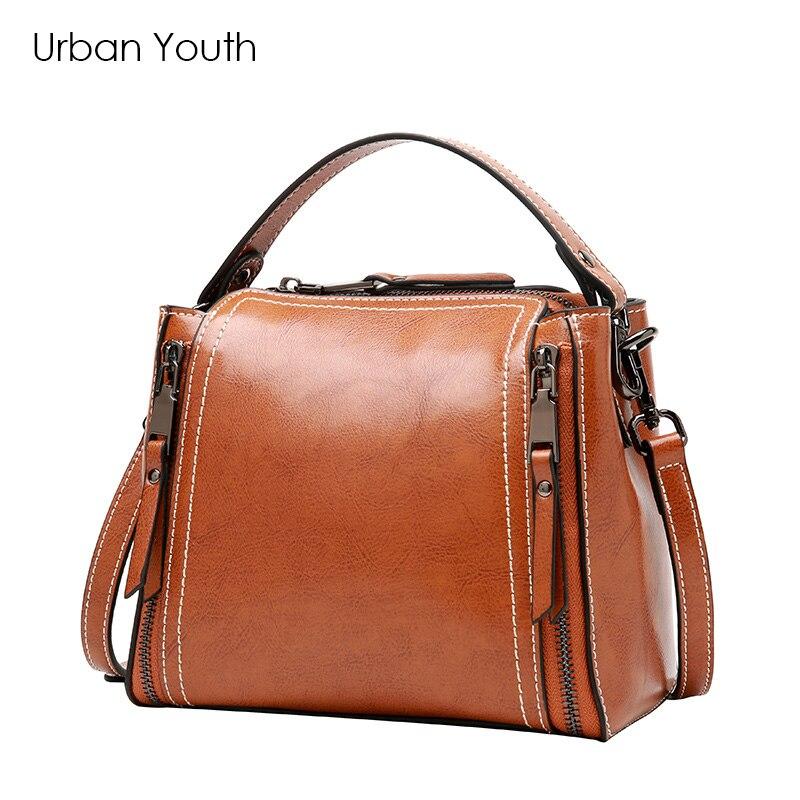 цена  Urban Youth Small Casual Women BAG genuine leather handbag tassel crossbody bag zipper soft female trunk shape fashion bag  онлайн в 2017 году