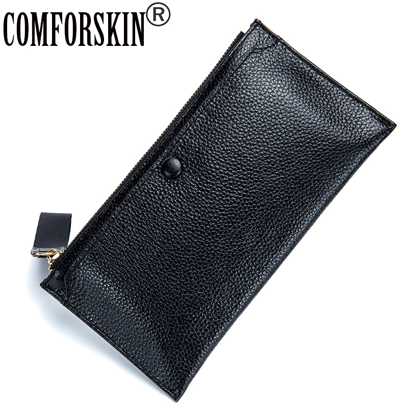 COMFORSKIN New Arrivals Cowhide Leather Women Wallet Hot Brand Fashion Style Ultra Thin  Wallets 2018 High Quality Female Purse free shipping new women s wallet cowhide genuine leather wallet for women famous brand wallet plaid shape hot cute women purses