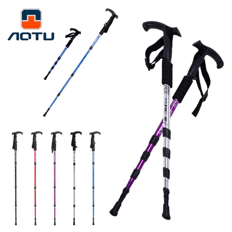 1PC Telescopic Walking Stick Cane Hiking Rubber Grade Alpenstock For Elderly Aluminium Body Climbing Equipment L3