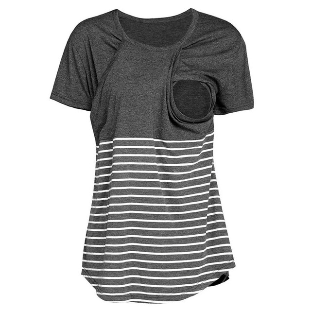 79304b4d665 2 Colors Maternity T-shirts Nursing Tops Breastfeeding Clothes Loose Striped  O-Neck Summer Shirt Blouse Clothes For Pregnant