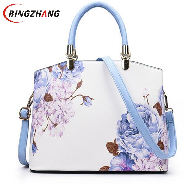 2018 New Printing Flower Women Handbags PU Leather Shoulder Bag For Female Designer Ladies Hand bag Famous Brand Tote Bag L8-230