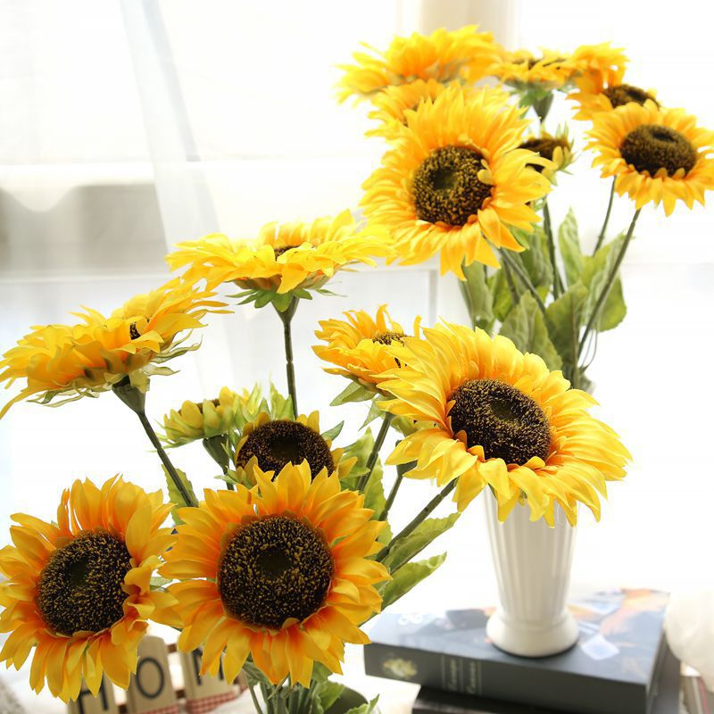 3pcslot 291 long silk flowers artificial sunflower decorations for home large 3 heads - Sunflower Decorations