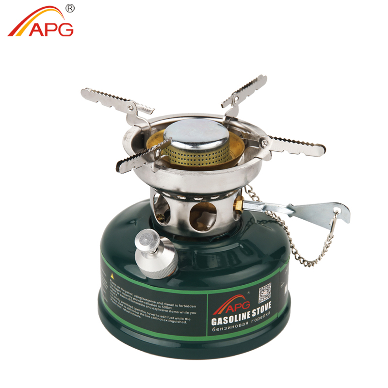 APG Camping Gasoline Stove Non Preheating Oil Stove Burners with Silencer Outdoor Cookware