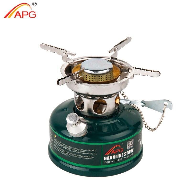 Estufa de gasolina de Camping APG, quemadores de estufa de aceite sin precalentamiento con silenciador, utensilios de cocina al aire libre