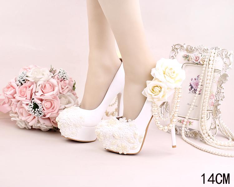 7_Women Dress Shoes For Wedding White Pearl Lace Flowers Bridal High Heel Platform Pumps 10cm 12cm 14cm Stilettos Footwear Online