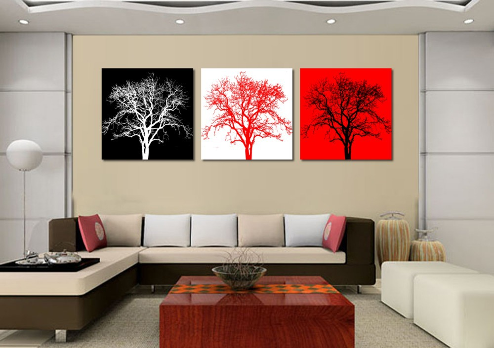 Very Abstract Three Tree Painting With Diffe Color Background Oil Decorative Home Office Kitchen