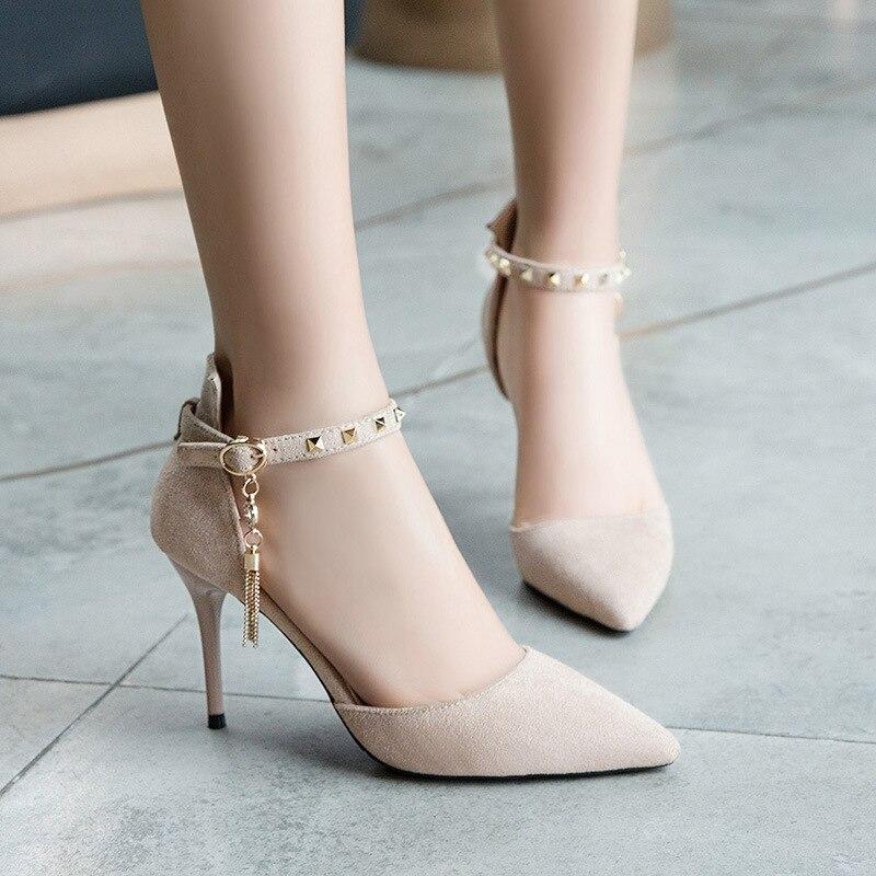 Boca Zapatos Baja Beige negro Metal Señaló De Mujer Hueco Stiletto 2019 rosado Hebilla Y Nueva Tacón Verano Rosa Primavera Alta w81X0p