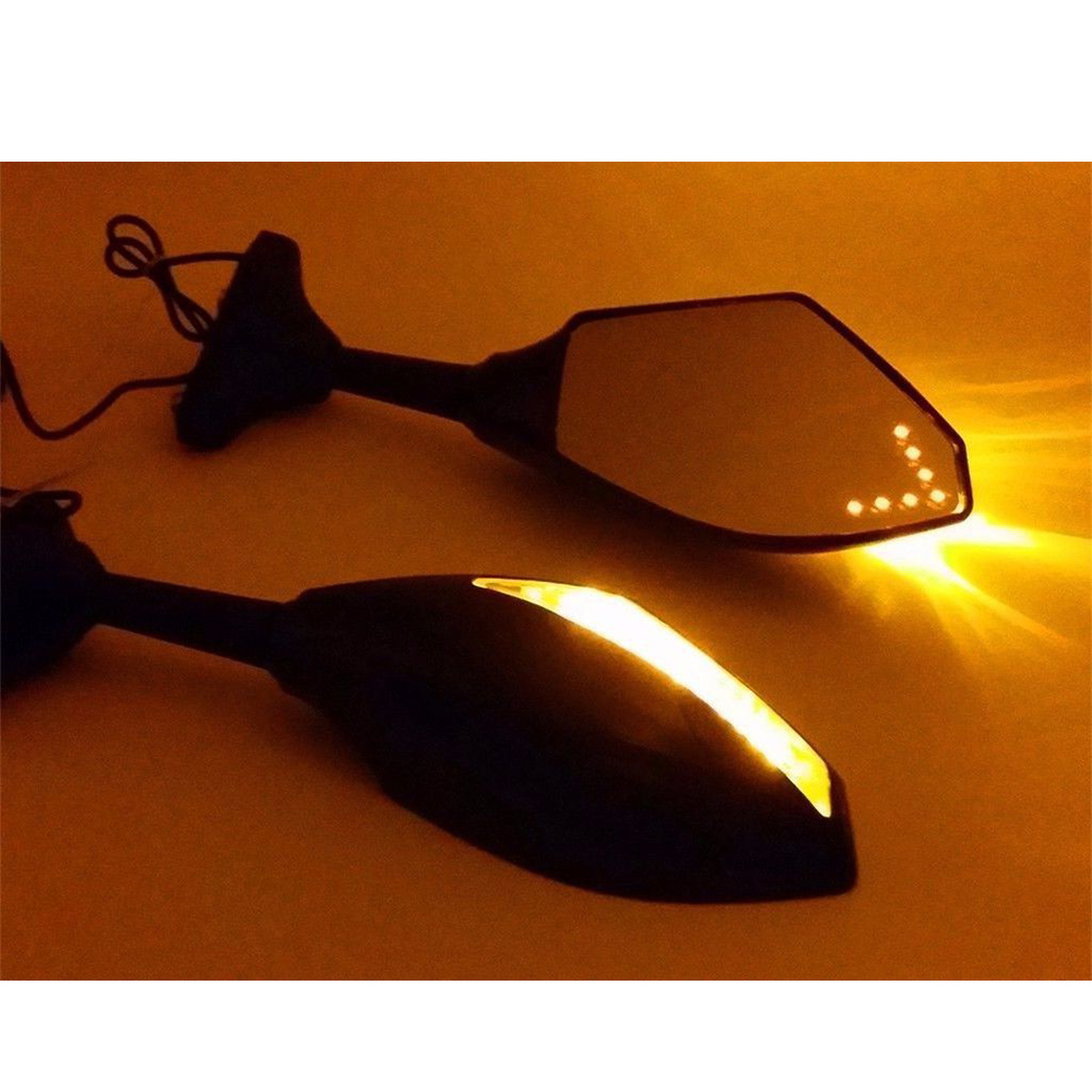 Evomosa Dual Motorcycle Rearview Mirrors Turn Signals Front Back LED Lights Clear Lens for Hyosung GT125R GT250R GT650R motorcycle windscreen windshield for hyosung atk gt125 gt650r gt250r kasinski mirage 250r 650r motocross motorbike dirt bike