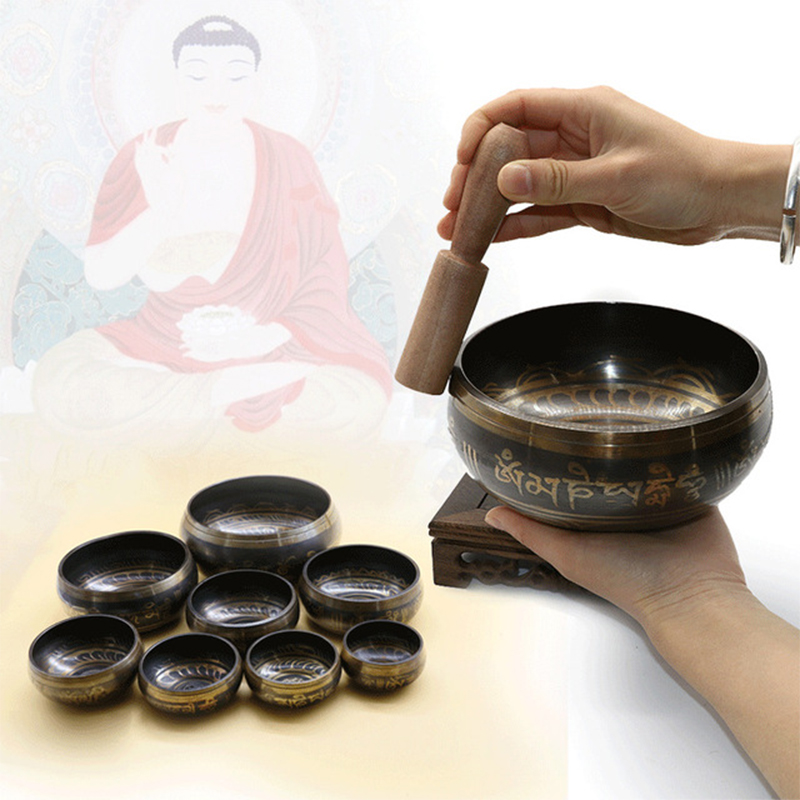 Nepal Bowl Singing Bowl Manual Tapping Metal Craft Buddha Ring Bell Religious Earthenware Basin Tibetan Meditation Singing Bowl